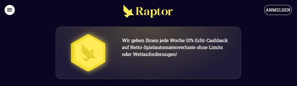 Raptor Casino Bonus