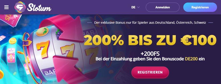 Slotum Casino Bonus für Neukunden