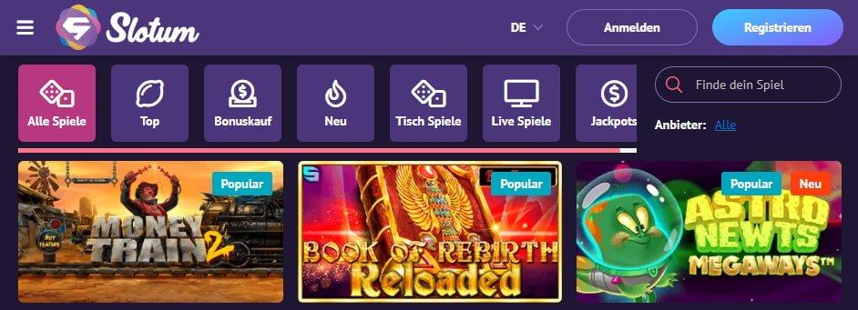 Slotum Casino Spiele und Slots