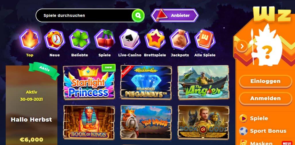 Wazamba Casino Spiele