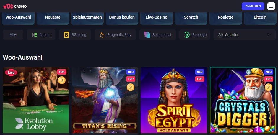Woo Casino Spiele und Slots